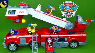 Big Paw Patrol Ultimate Rescue Fire Truck Toys Marshall Fireman Rubble Chase and Skye Pups Toy Video