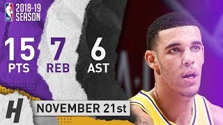 Lonzo Ball Full Highlights Lakers vs Cavaliers 2018.11.21 - 15 Pts, 6 Ast, 7 Rebounds!