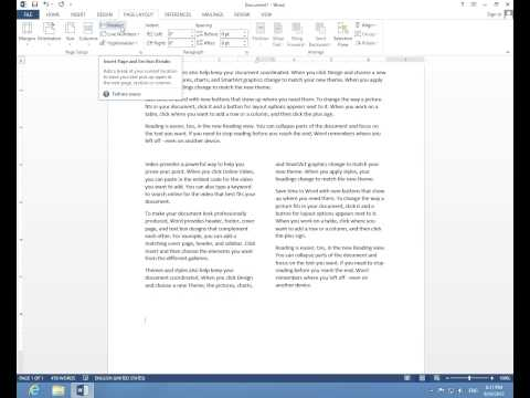 How to write in multiple Columns in Microsoft Word 2013