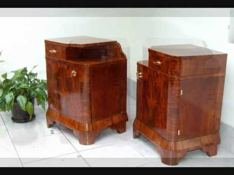 Pair of Art Deco Bedside Cabinets/Nightstands. Hungary4deco.