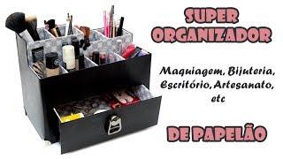 Organizador com Caixa De Sapato e Papelão (ARTESANATO, DIY, RECICLAGEM)