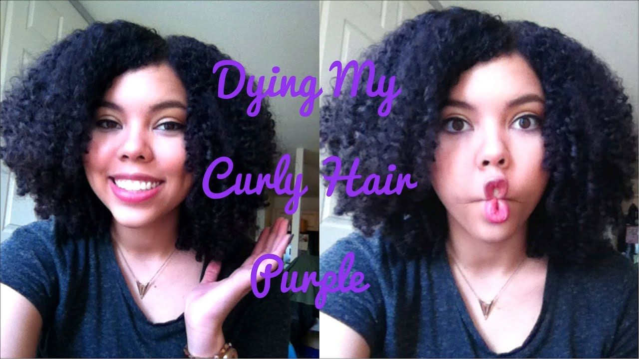 Dying My Curly Hair Purple Without Bleach Youtube