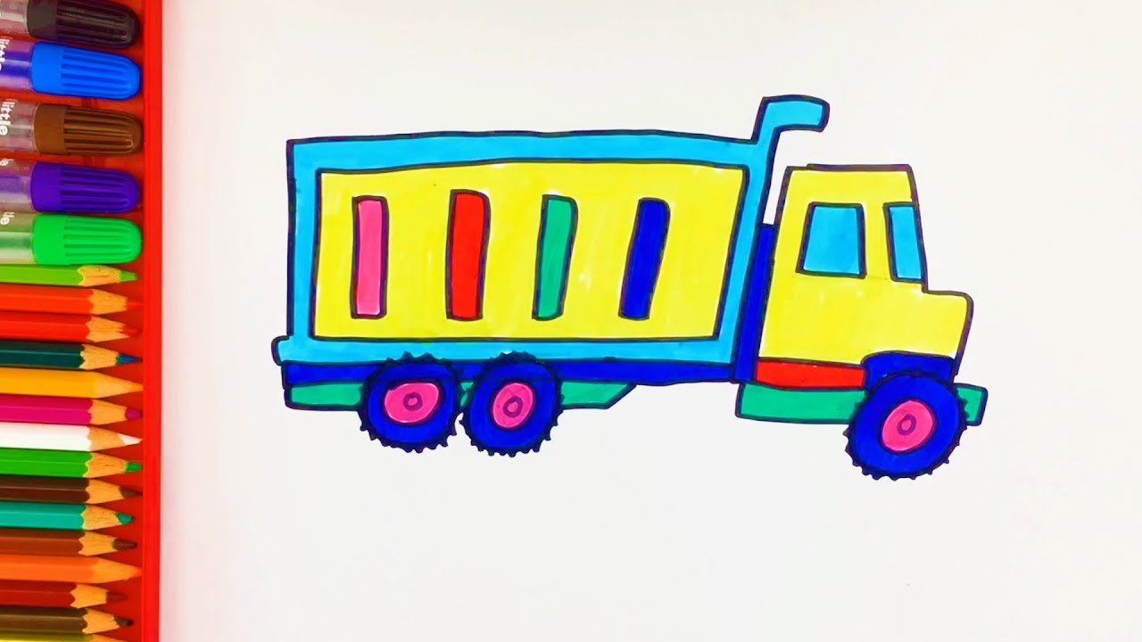 learn colors for kids with how to draw construction truck dump