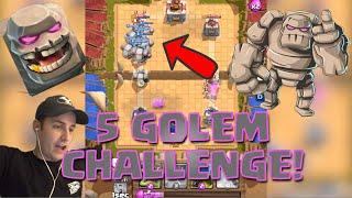 TROLLING NOOBS! in Clash Royale - 5 GOLEM CHALLENGE!!! (Golem Only Troll Deck)