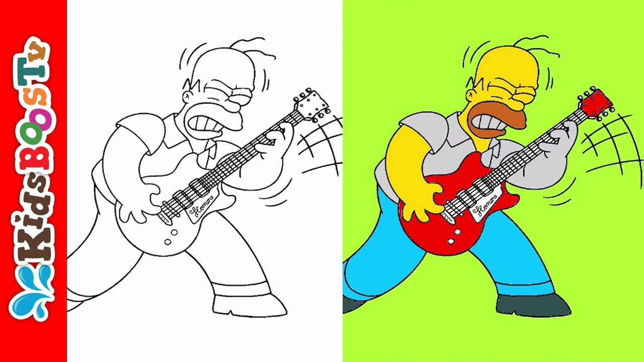 Simpsons Coloring Pages Homer Simpson Playing Guitar Videos