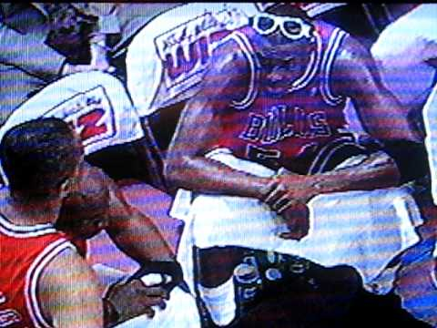 STARKSTHEDUNK& MIKE ADLER ON TV AT GAME CLOSE UP IN CROWD AFTER DUNK, MAY93