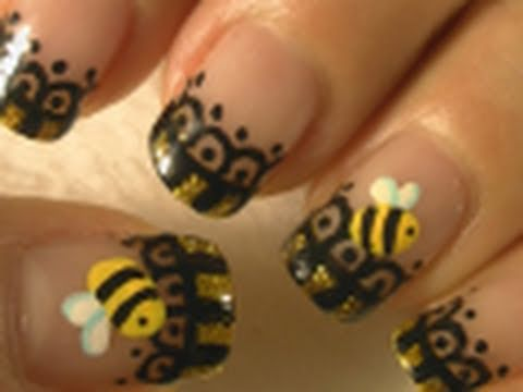 Halloween nails bumble bee nail art tutorial arte para las halloween nails bumble bee nail art tutorial arte para las uas de abejita prinsesfo Choice Image