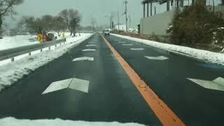 雪の湖岸道路   滋賀県近江八幡〜琵琶湖大橋