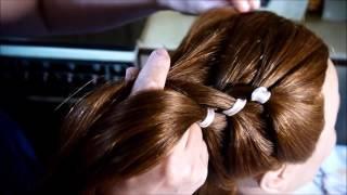 Плетение косы с лентой.Коса из четырех прядей.Елена Корякова