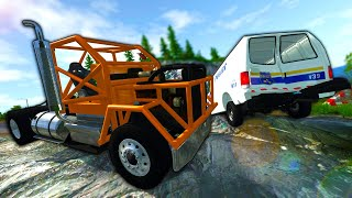 The Most INSANE Diesel Pushes Police Off a Mountain During a Chase! - BeamNG Gameplay & Crashes