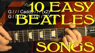 THE BEATLES - 10 EASY Songs - Guitar Lesson - Beginners