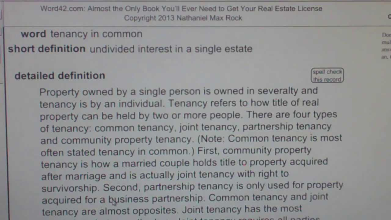 tenancy in common CA Real Estate License Exam Top Pass