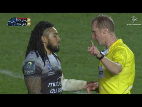 "Wayne Barnes to Nonu - ""If you come ask for a yellow card you'll get it"" [Scarlets vs Toulon '18]"