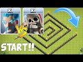 "GIANT SKELETON MAZE RACE!! ""Clash Of Clans"" TROLL RACE"