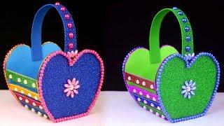 How to Make Easy Cardboard Basket - DIY Easter Basket Craft - Cute Homemade Easter Basket Ideas