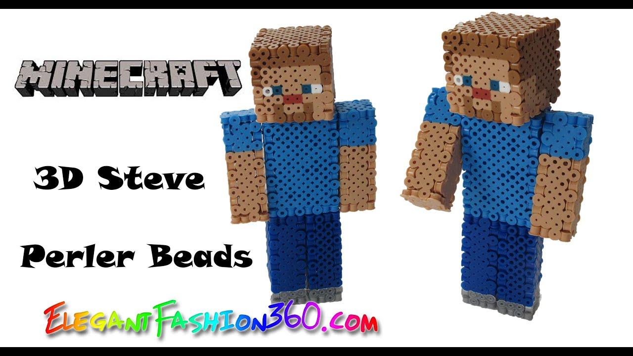 Diy Perlerhama Beads Minecraft Steve 3d How To Tutorial