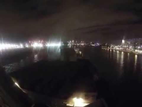 HMS Iron Duke arriving in London - at night