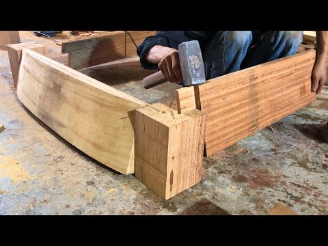Making Wooden King Size Chair with Large Inclined Joints // Extremely Wonderful Carved Wood Art