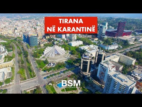 4K Drone footage shows empty streets of Tirana in quarantine