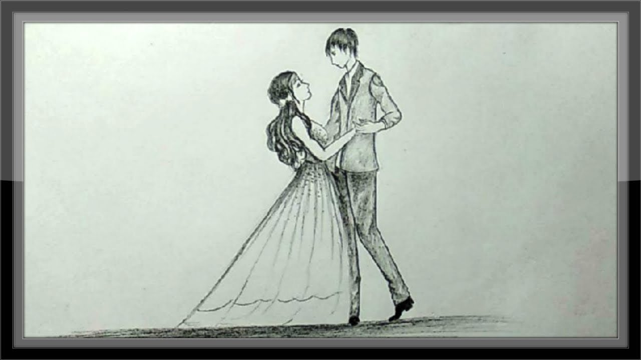 Pencil drawing romantic valentine couple dancing chandra art