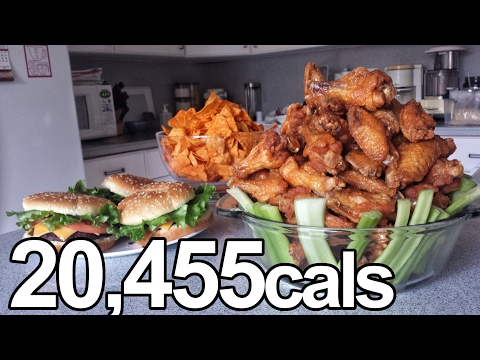 20,000 Calorie Superbowl Challenge (Wings, Doritos, Pizza...)
