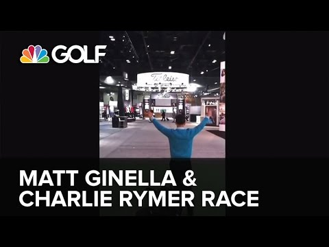 Matt Ginella and Charlie Rymer race at the 2014 PGA Merchandise Show