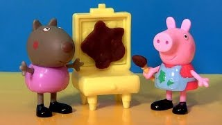 Peppa Pig Painting Together Danny Dog Peek 'n Surprise Nickelodeon Play Doh Dolls Easel Review