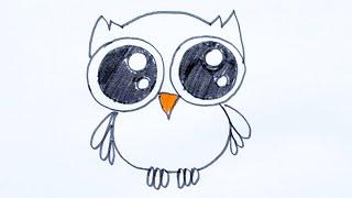 Как нарисовать птицу сову. Забавная птица. Рисунок фломастером.