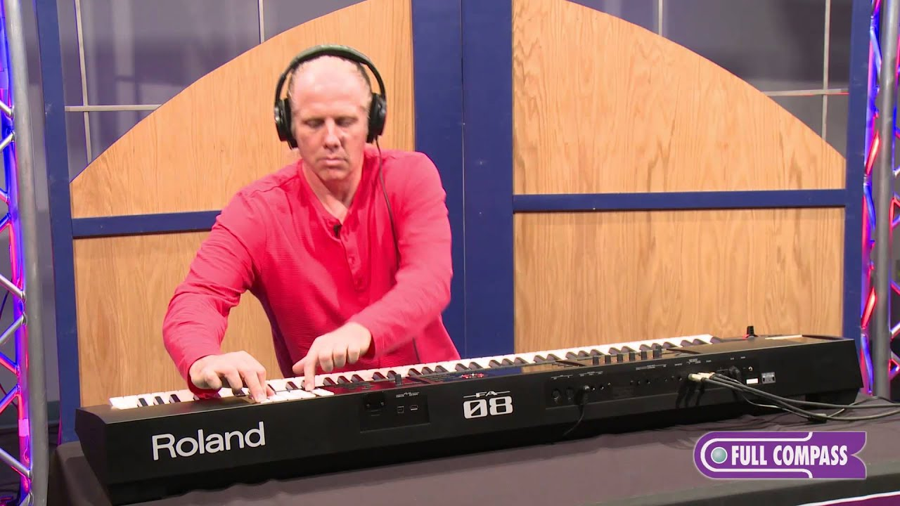 roland fa 08 88 key workstation keyboard review full compass youtube. Black Bedroom Furniture Sets. Home Design Ideas
