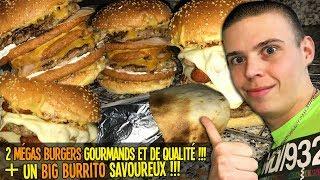 2 MÉGAS BURGERS GOURMANDS et de QUALITÉ !!! + 1 BIG BURRITO SAVOUREUX !!!