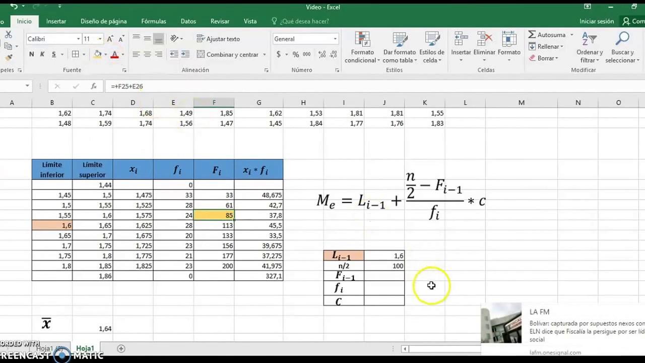 Mediana para datos agrupados pdf to excel