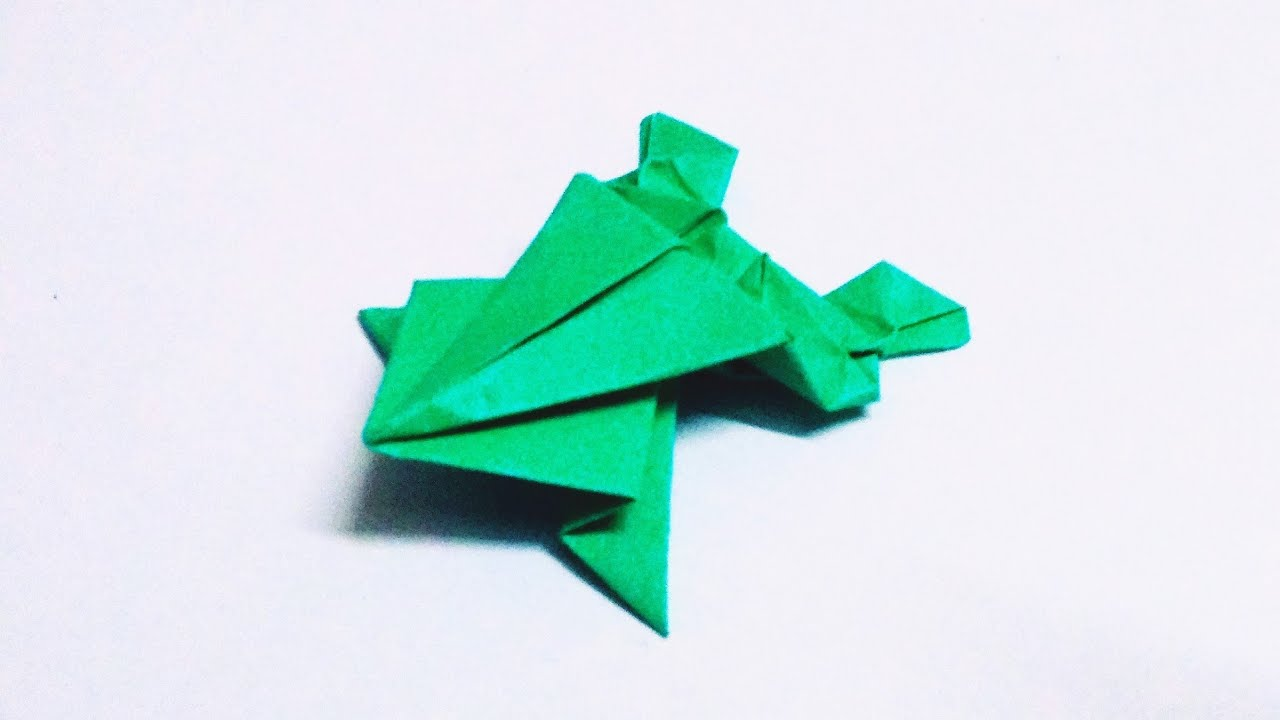 origami frog traditional model | how to make paper frog that jumps high and far