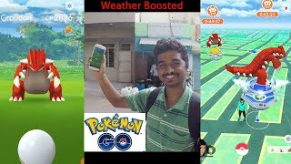 MY FIRST GROUDON CATCH - Weather boosted Raid boss - Pokemon go India