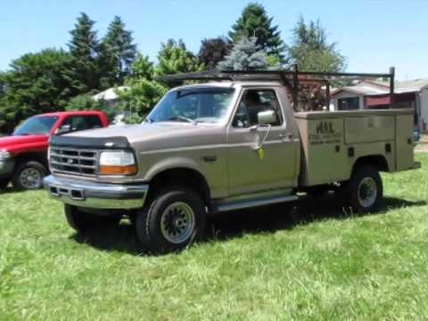lot 0110 1997 ford f 350 diesel xl utility truck 4x4 youtube. Black Bedroom Furniture Sets. Home Design Ideas