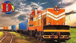 Поезда для детей Железнодорожный транспорт развивающий мультик про Железную дорогу и грузовой поезд
