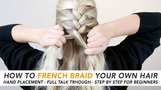 How To French Brąid Your Own Hair (THE EASIEST 5 MINUTE BRAID!) Real-Time Talk Through - PART 1 [CC]