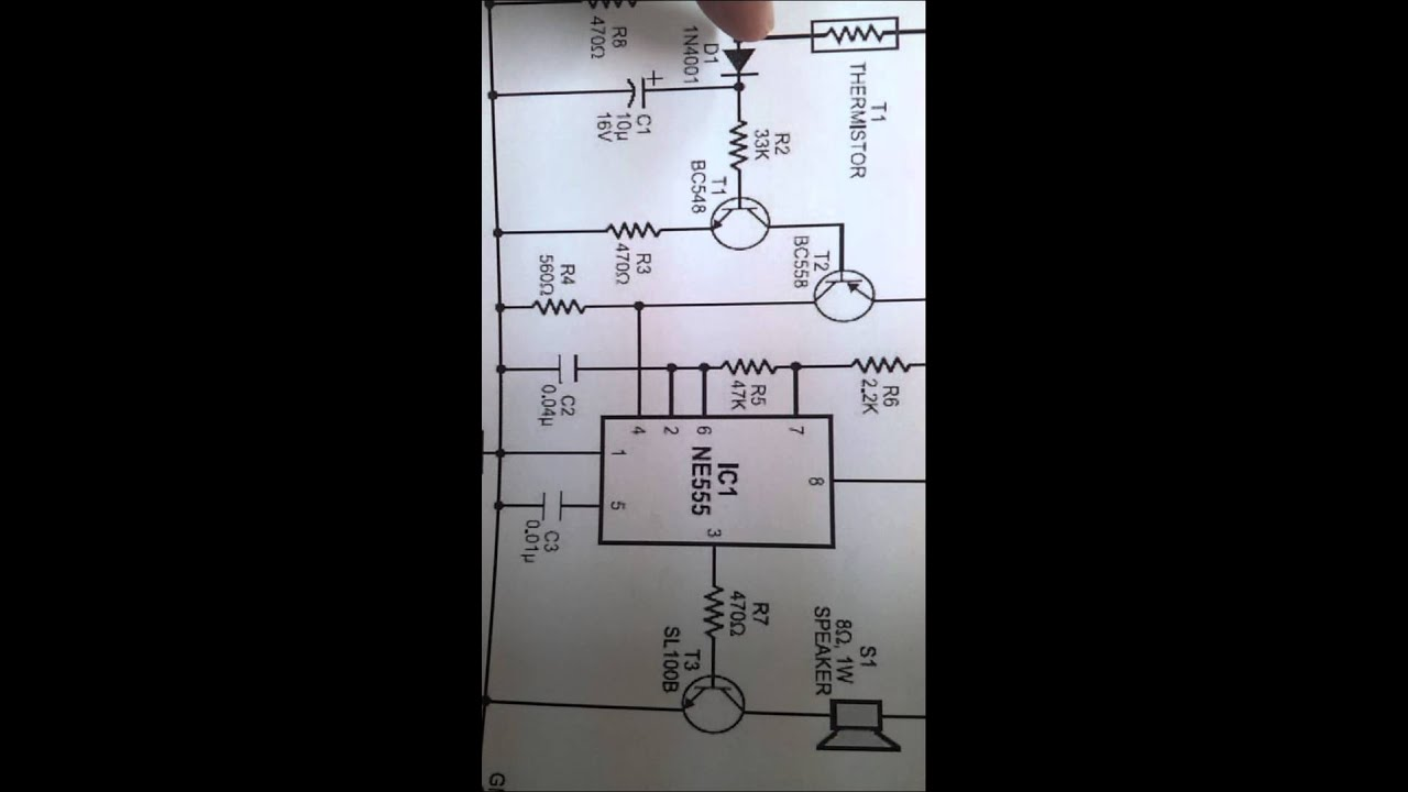 fire alarm circuit using 555 timer and thermistor [ 1280 x 720 Pixel ]