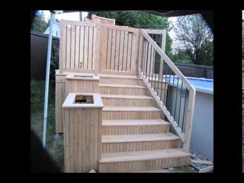 Deck de piscine en c dre youtube for Plan pour deck de piscine