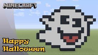 Minecraft: Pixel Art Tutorial: Boo (Happy Halloween)