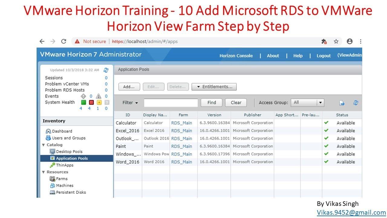 VMware Horizon Training | 10 - Add Microsoft RDS to VMWare Horizon View  Farm Step by Step