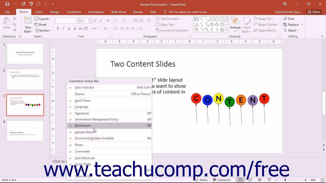 powerpoint 2016 tutorial the status bar microsoft training - youtube, Presentation templates