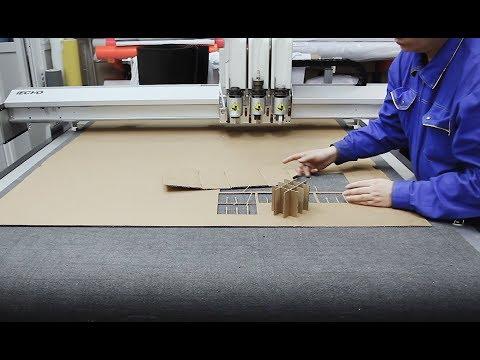 Резка и биговка гофрокартона на режущем плоттере iECHO