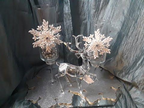 New! Christmas Series 3 EASY #DOLLAR #TREE DIY SNOW FLAKE VASE
