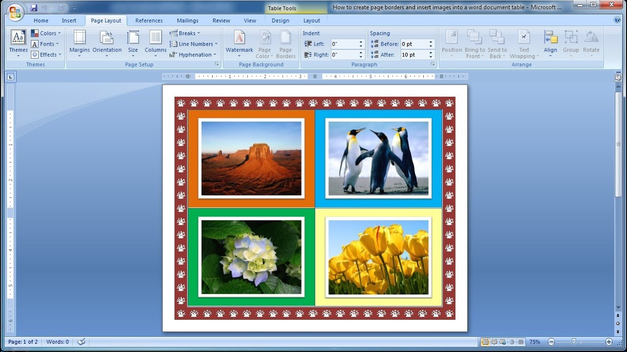 Photo Page: How To Create Page Borders And Insert Images Into A Word