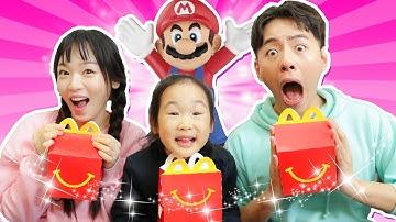 맥도날드 해피밀세트 먹고 장난감 가져요. 앗싸 햄버거 먹고 슈퍼마리오,큐브,공주 장난감 가져야지!! - 마슈토이 Mashu ToysReview