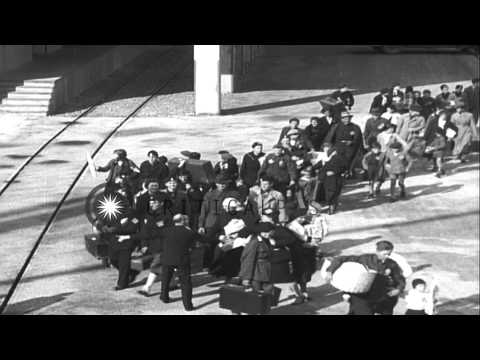 Jewish families banished by the Nazis, depart by ships from Brunn as Prague offic...HD Stock Footage