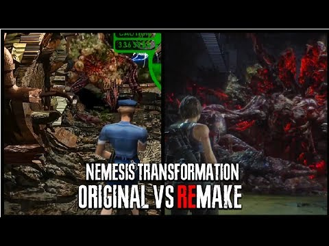 NEMESIS TRANSFORMATION Original vs Remake Gameplay Comparison Boss Battle - Resident Evil 3 Remake |