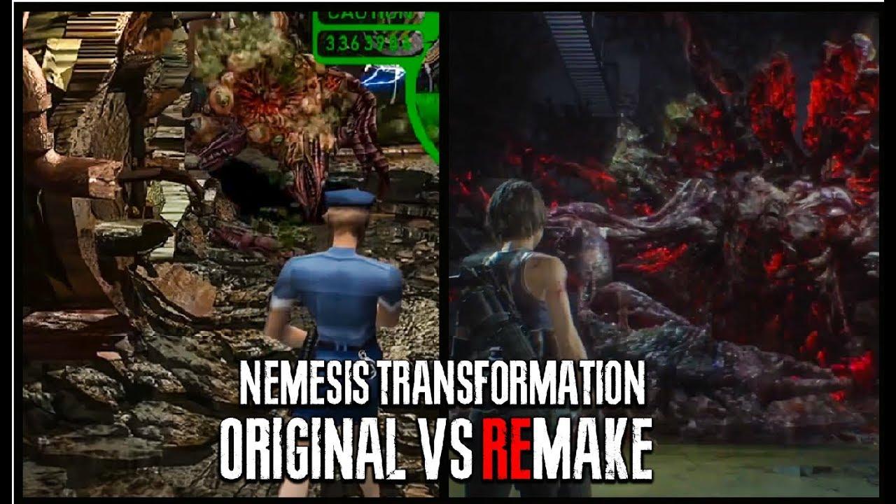 Nemesis Transformation Original Vs Remake Gameplay Comparison Boss Battle Resident Evil 3 Remake Youtube