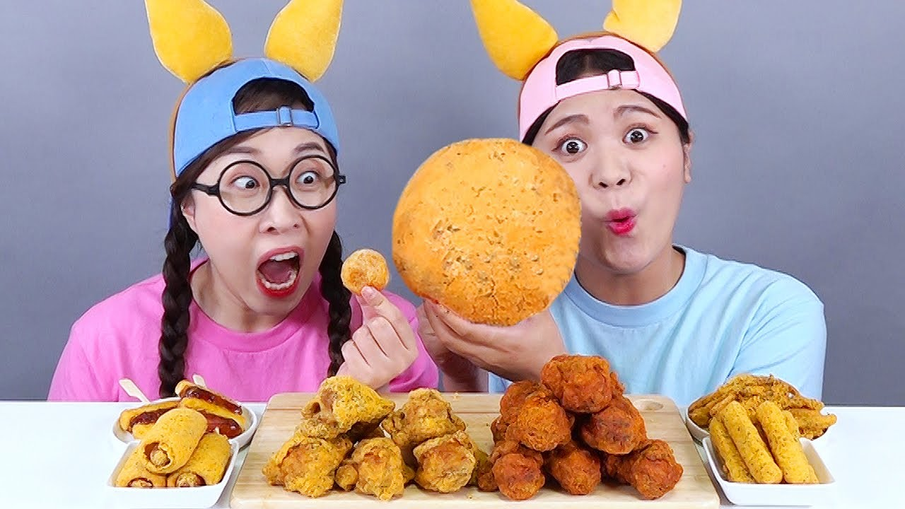 Giant Cheese Balls Fried Chicken DONA Mukbang