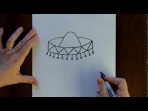 How To Draw Sombrero Cartoon Step